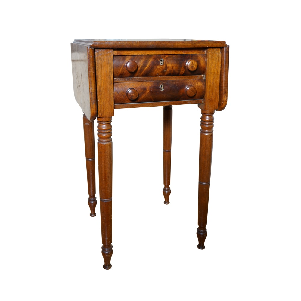 Antique Sheraton Style Walnut Drop Leaf Side Table ...