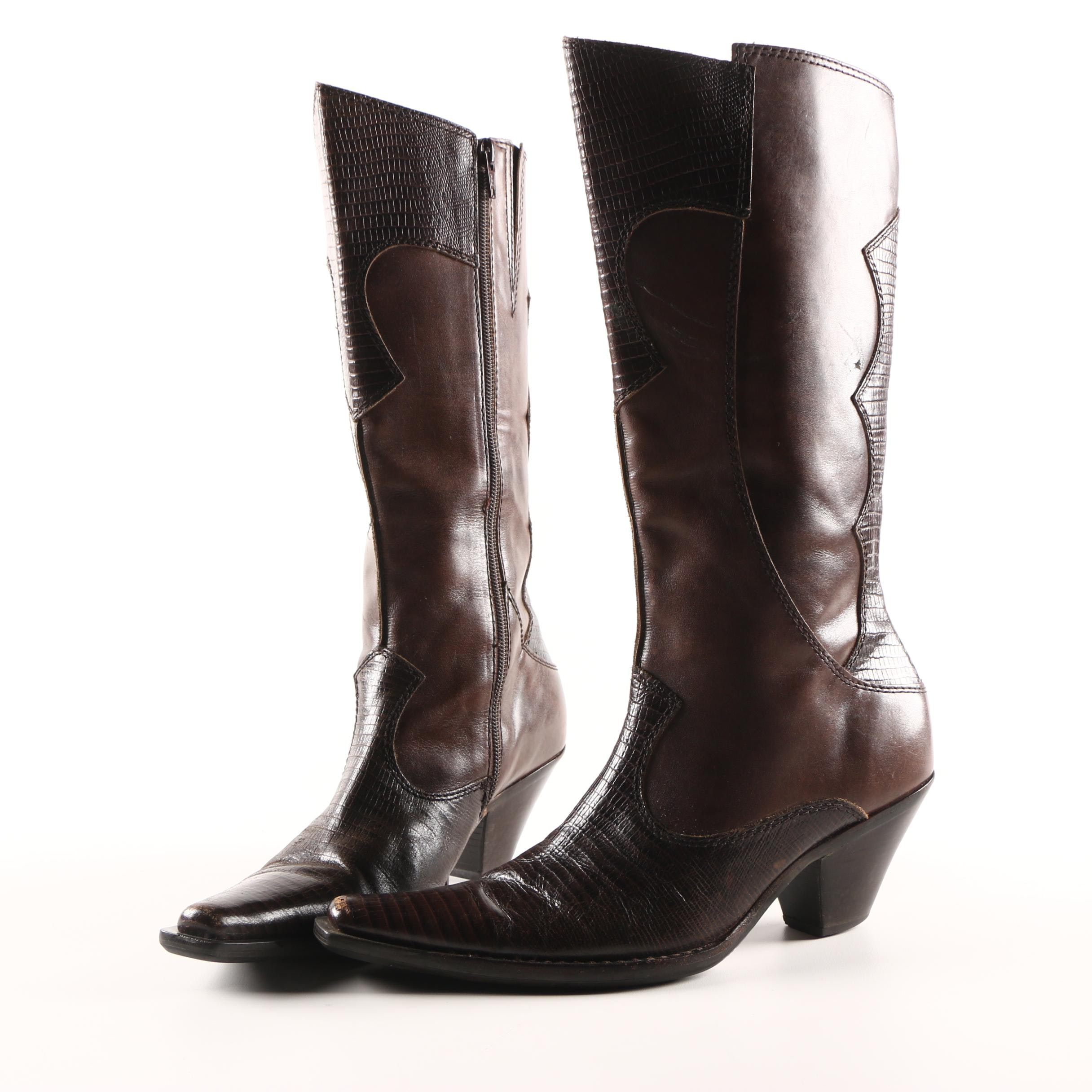 Women's Lizard Skin and Leather Cowboy Boots