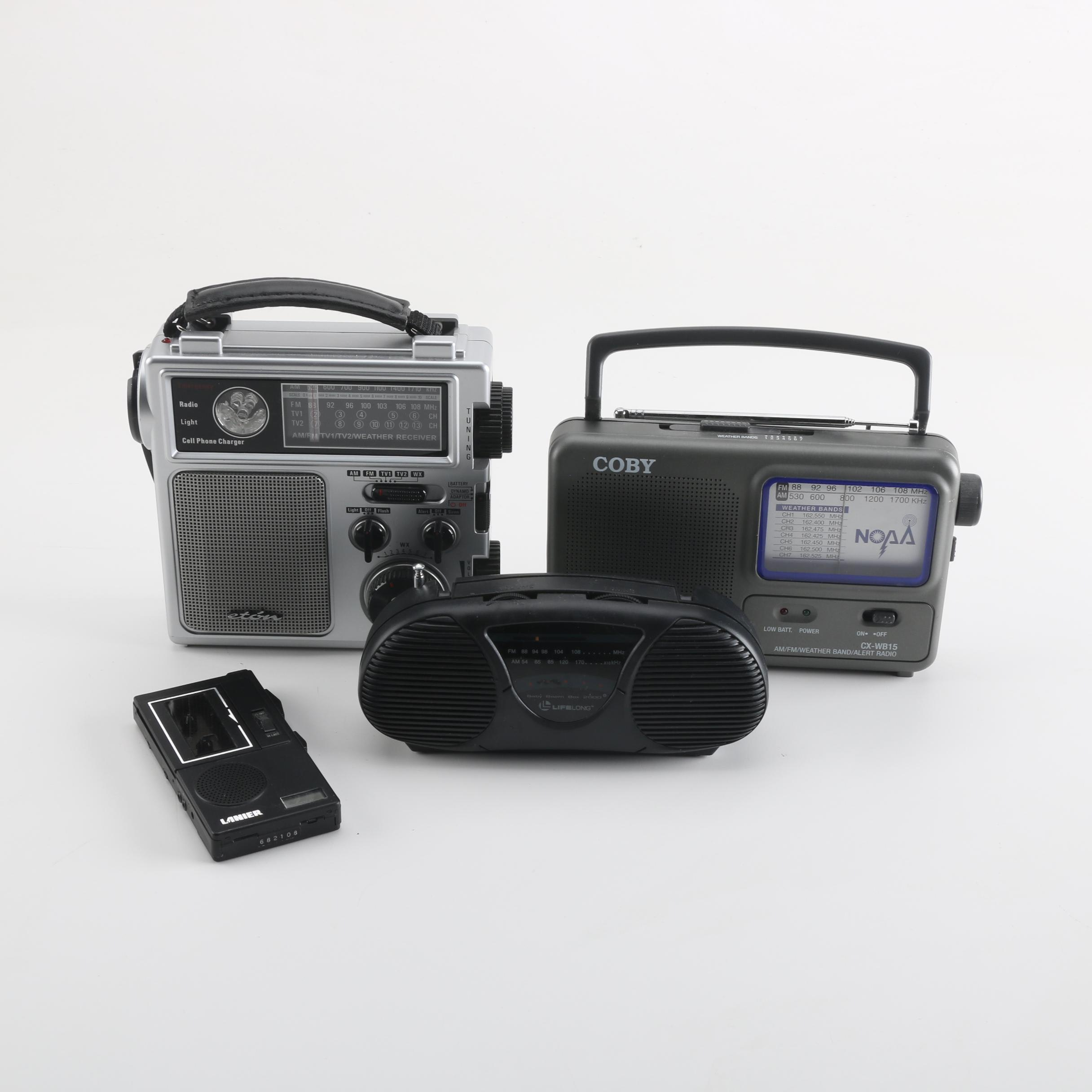 Weather Receiver, Radios and Micocassette Recorder