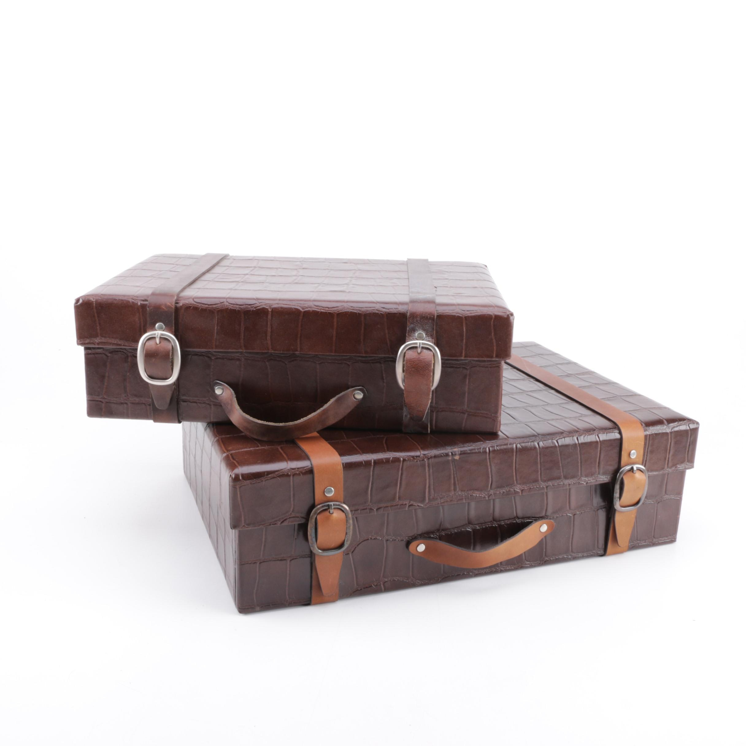 Two Faux Leather Storage Boxes ...