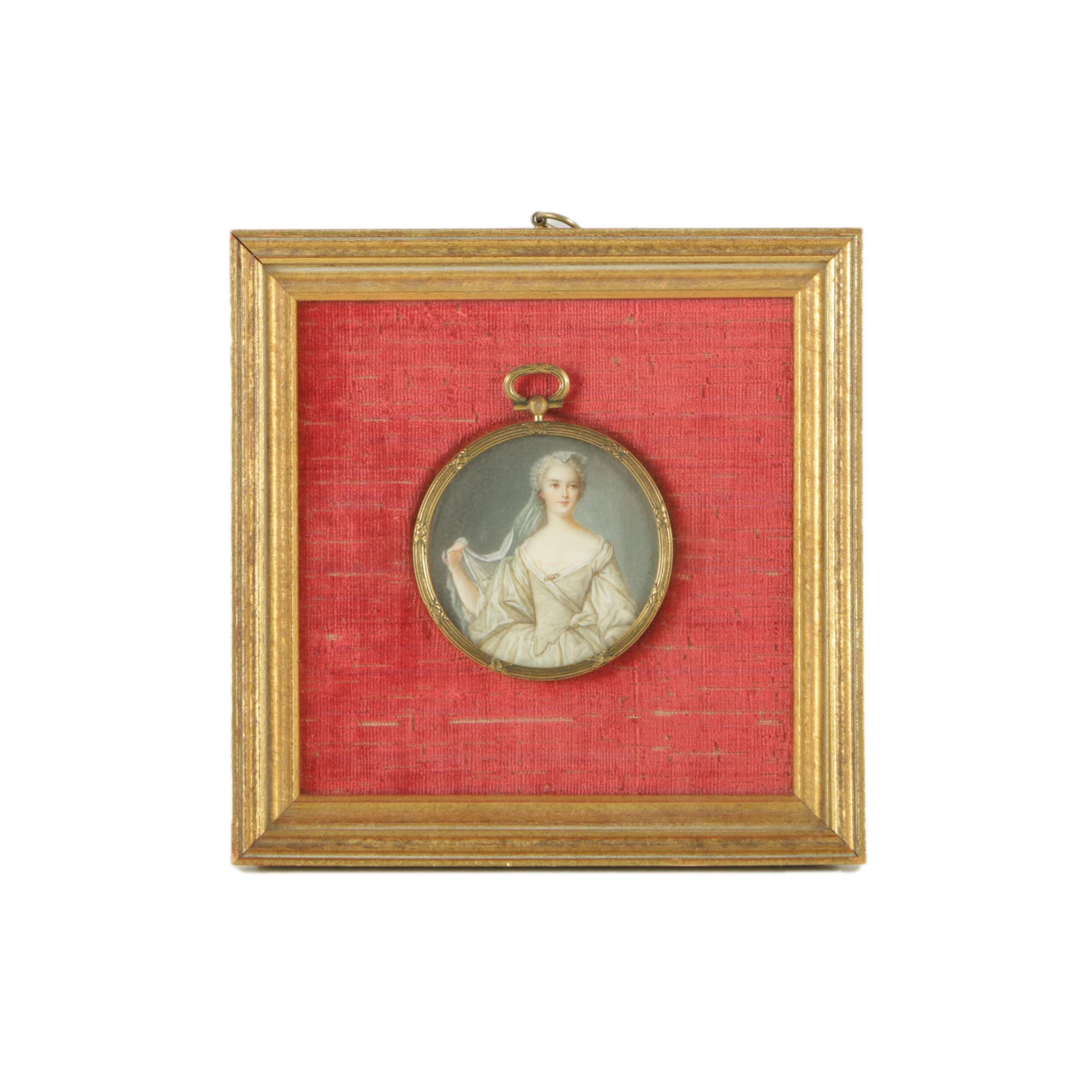 Antique Miniature Portrait Painting of Young Woman