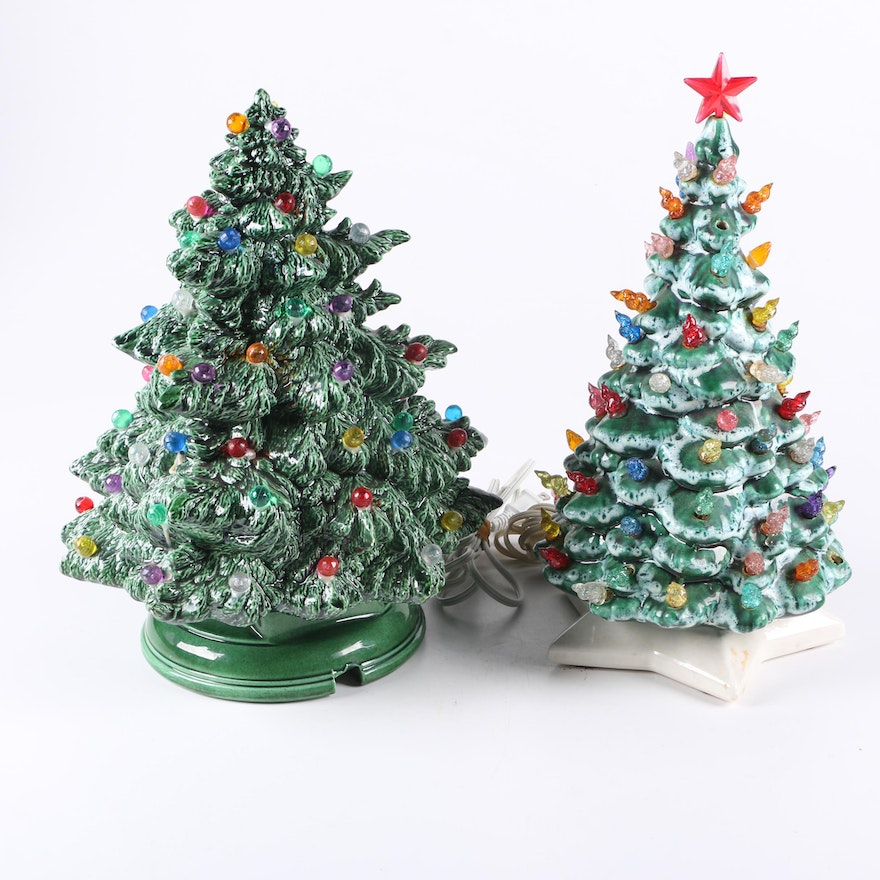 pair of vintage ceramic christmas trees with colored lights