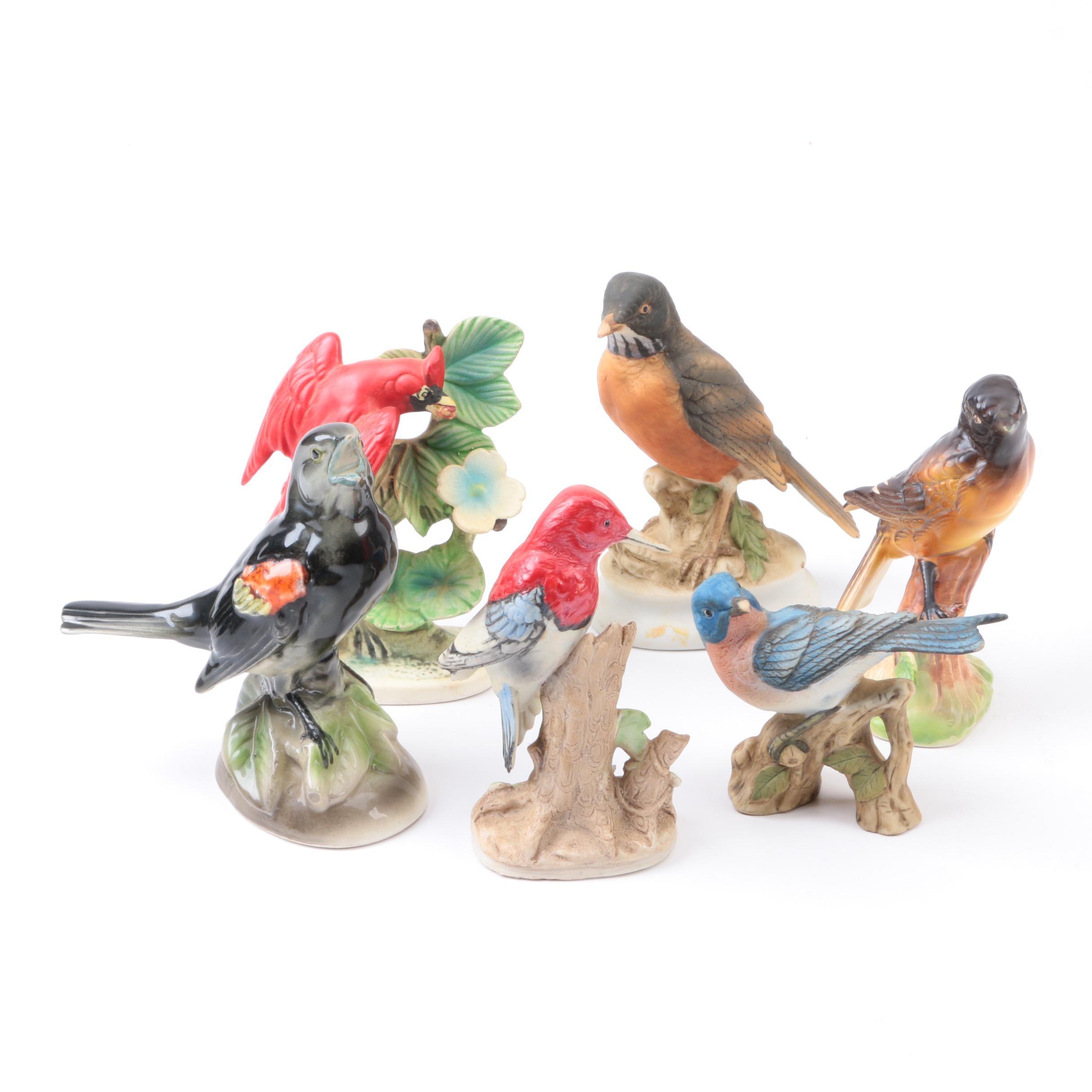 Vintage Porcelain And Ceramic Bird Figurines Including