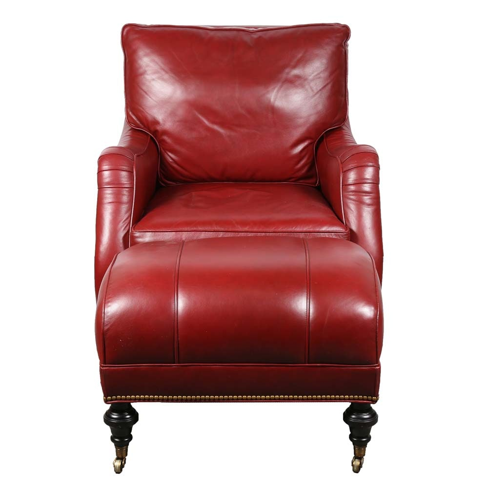 Red Leather Chair and Ottoman by McKinley Leather