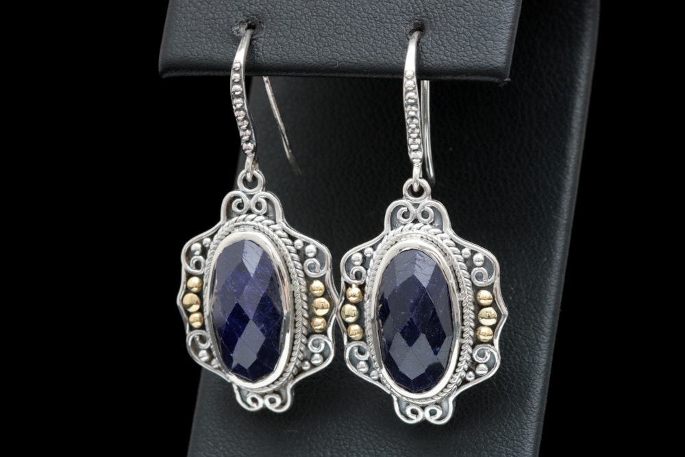 Robert Manse Sterling Silver, 18K Yellow Gold and Dyed Blue Corundum Earrings