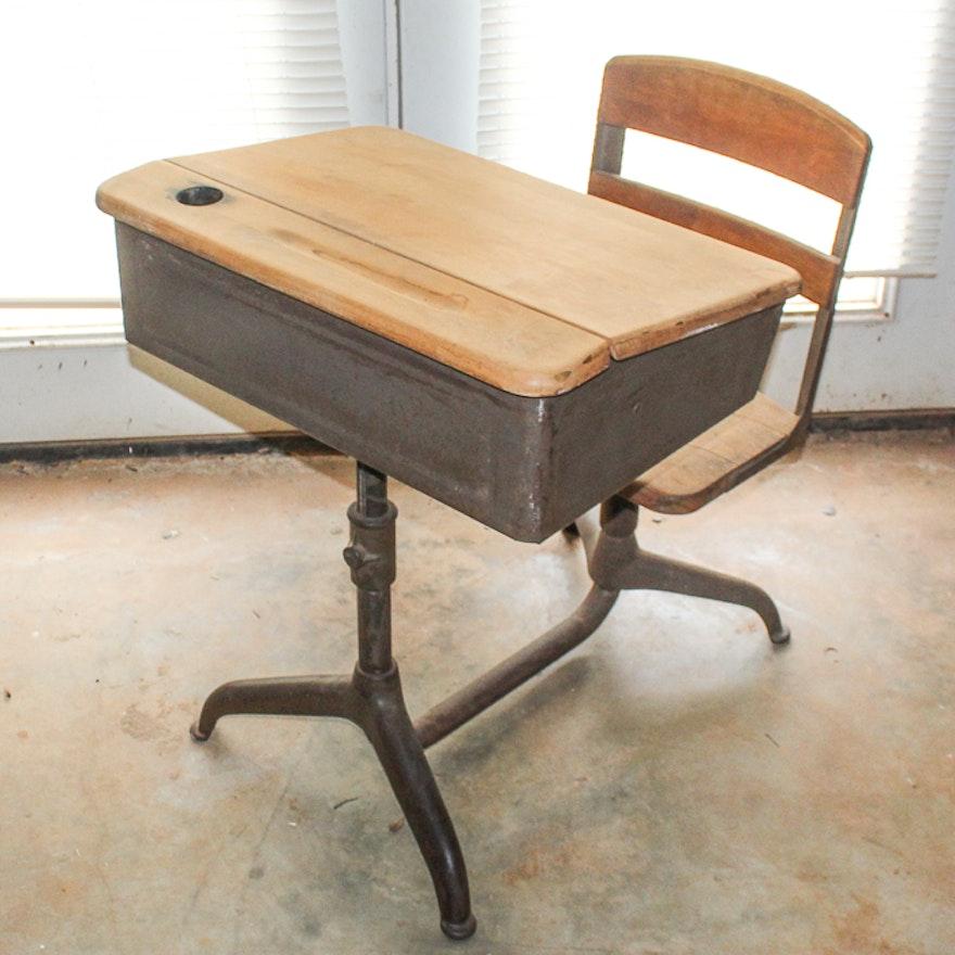 1950s industrial school desk with swivel chair ebth. Black Bedroom Furniture Sets. Home Design Ideas