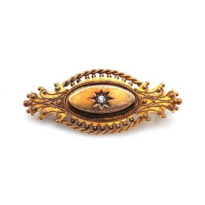Victorian 15K Yellow Gold Diamond Pendant Brooch