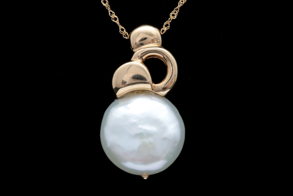 14K Yellow Gold and Coin Pearl Pendant with Chain
