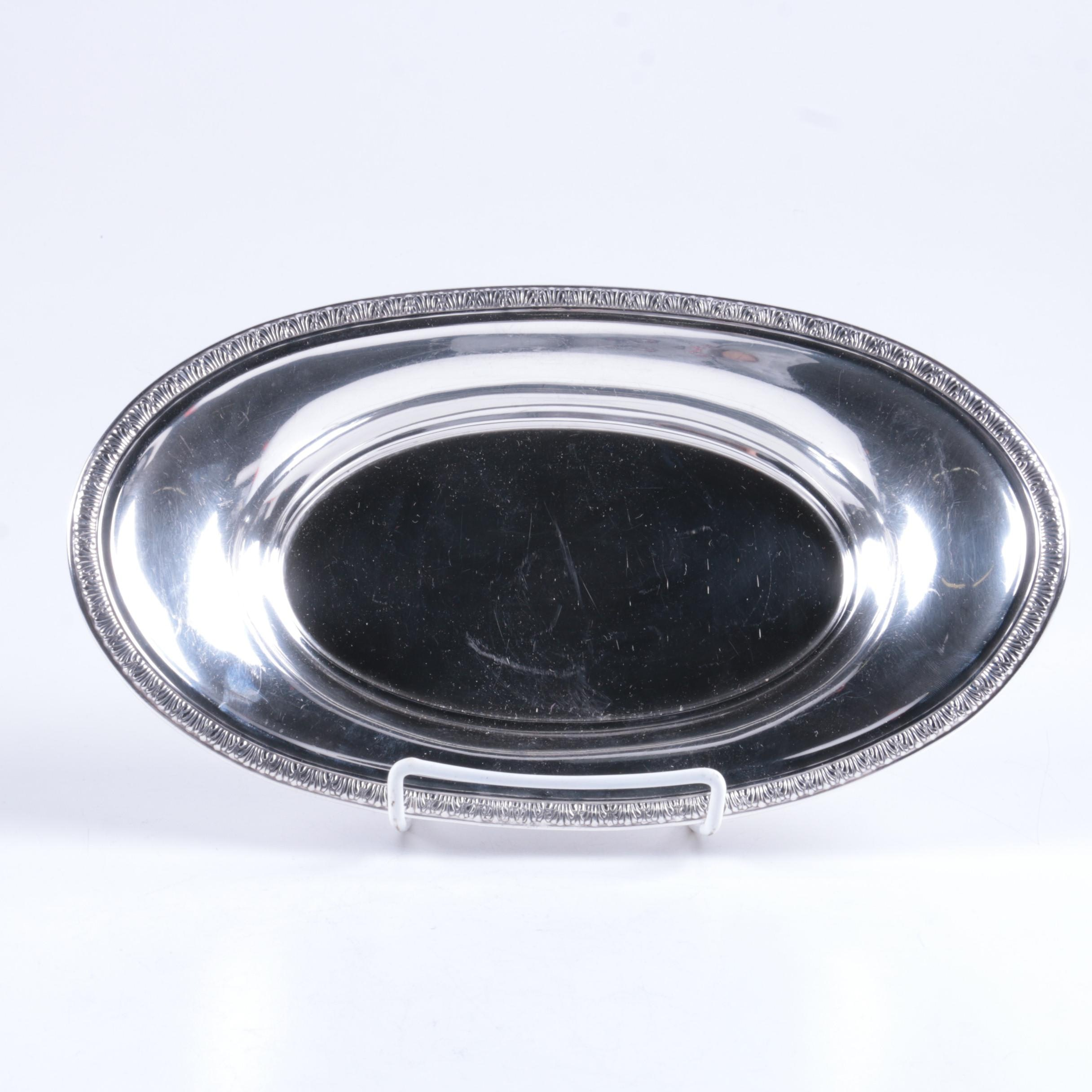 International Silver Co. Anthemion Rimmed Sterling Silver Bread Tray