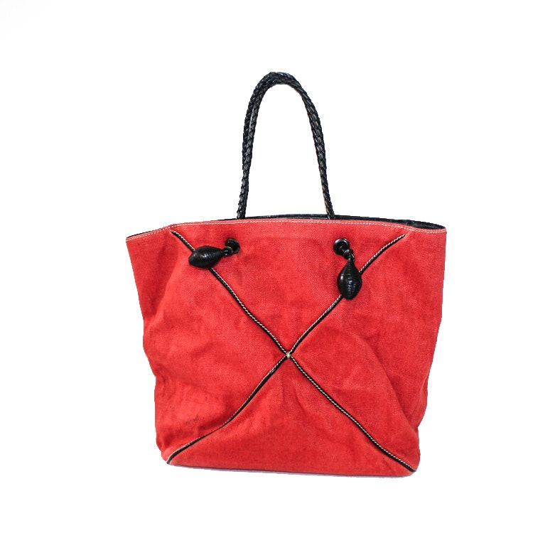Bottega Venneta Red Canvas Tote with Leather Trim