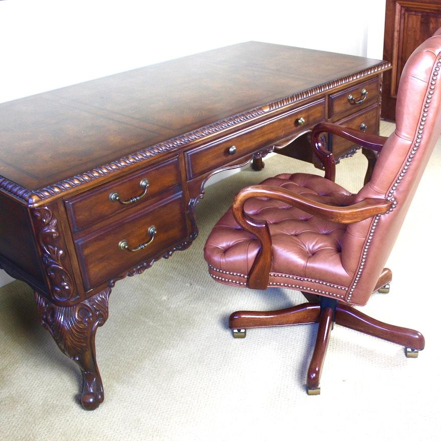 Tremendous Hooker Furniture Executive Desk With Leather Chair Spiritservingveterans Wood Chair Design Ideas Spiritservingveteransorg