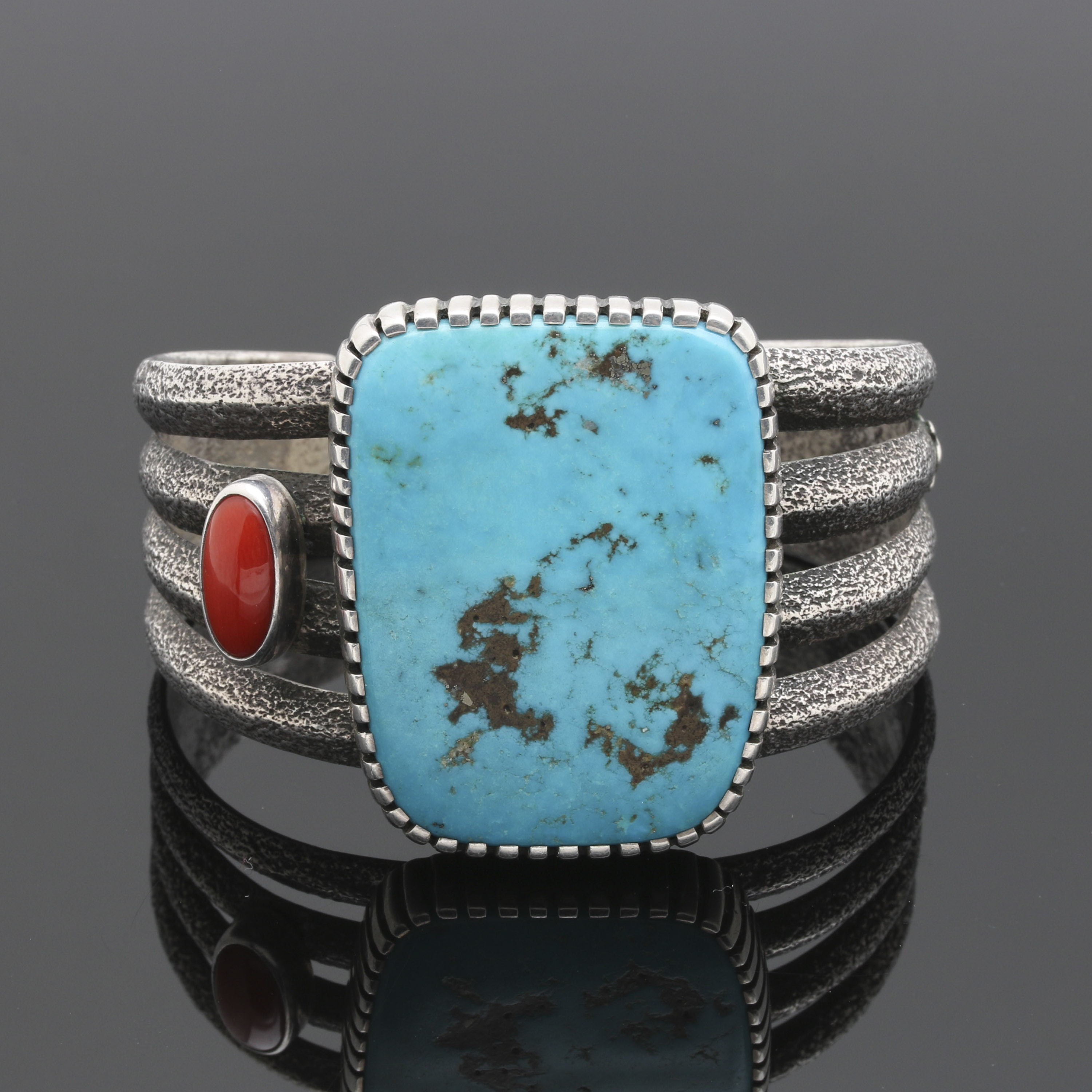 Robert Sorrell Navajo Diné Tufa Cast Cuff with Turquoise and Coral