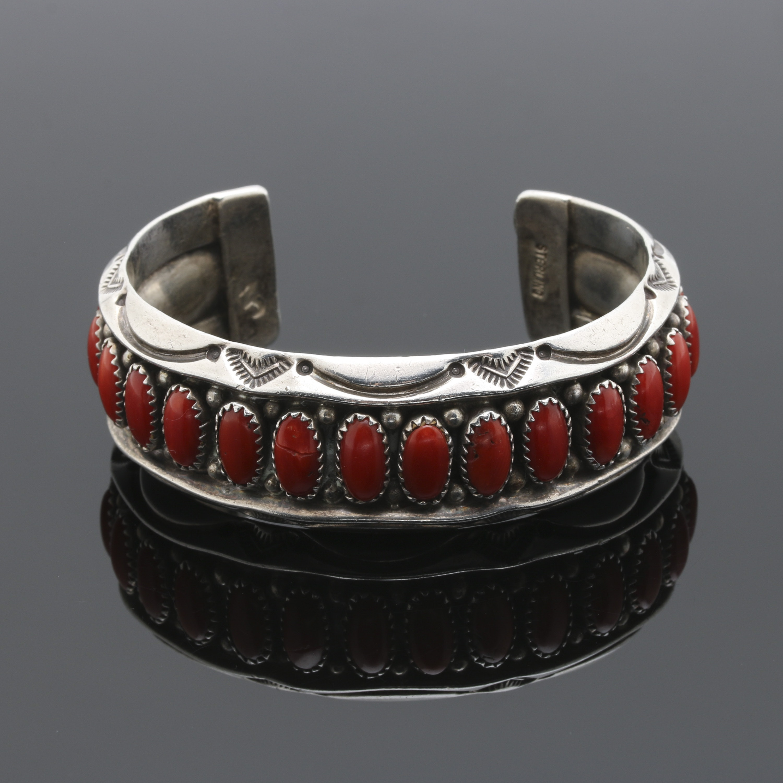 Navajo Diné Sterling Silver Coral Cuff Bracelet