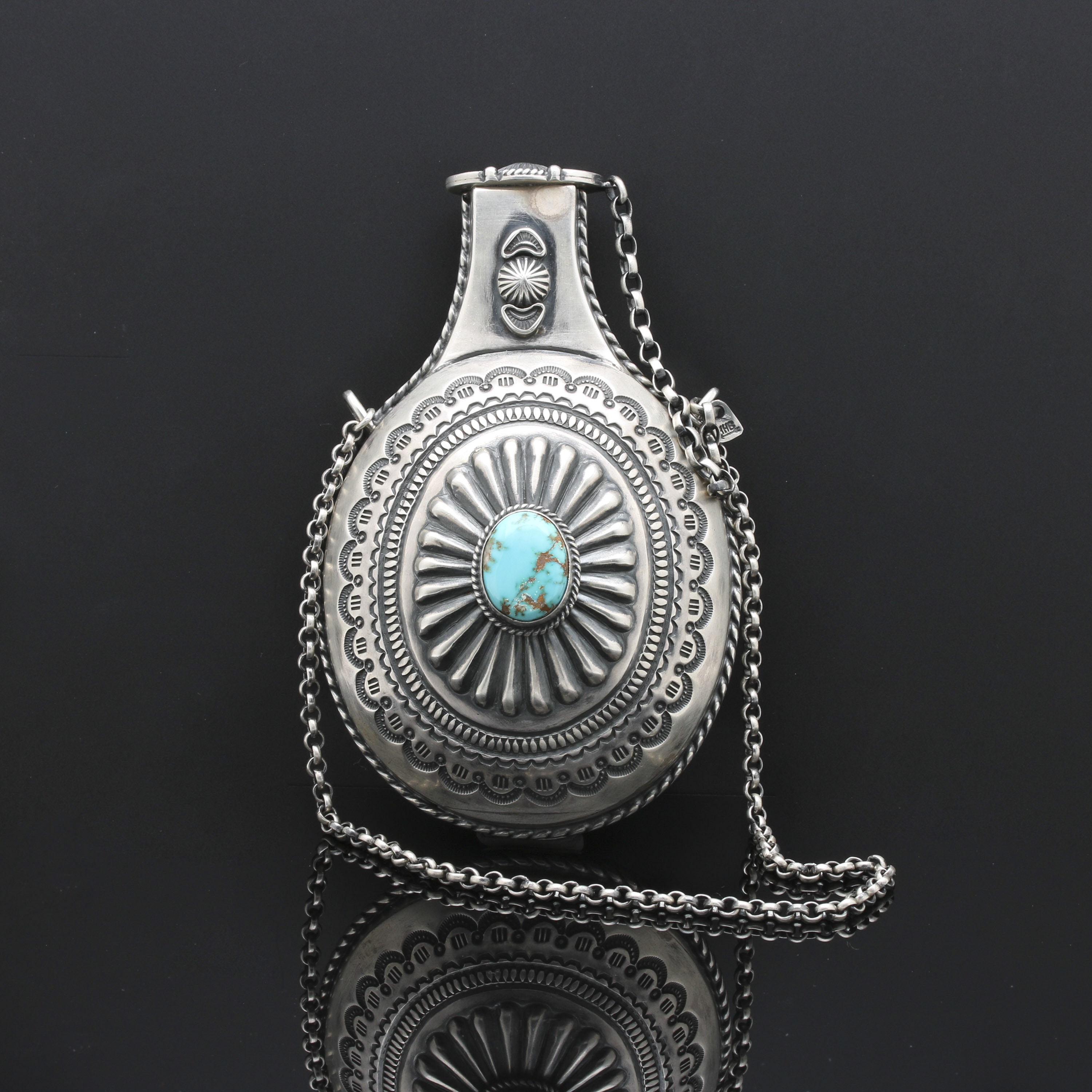 Harry H. Begay Navajo Sterling Silver Turquoise Canteen