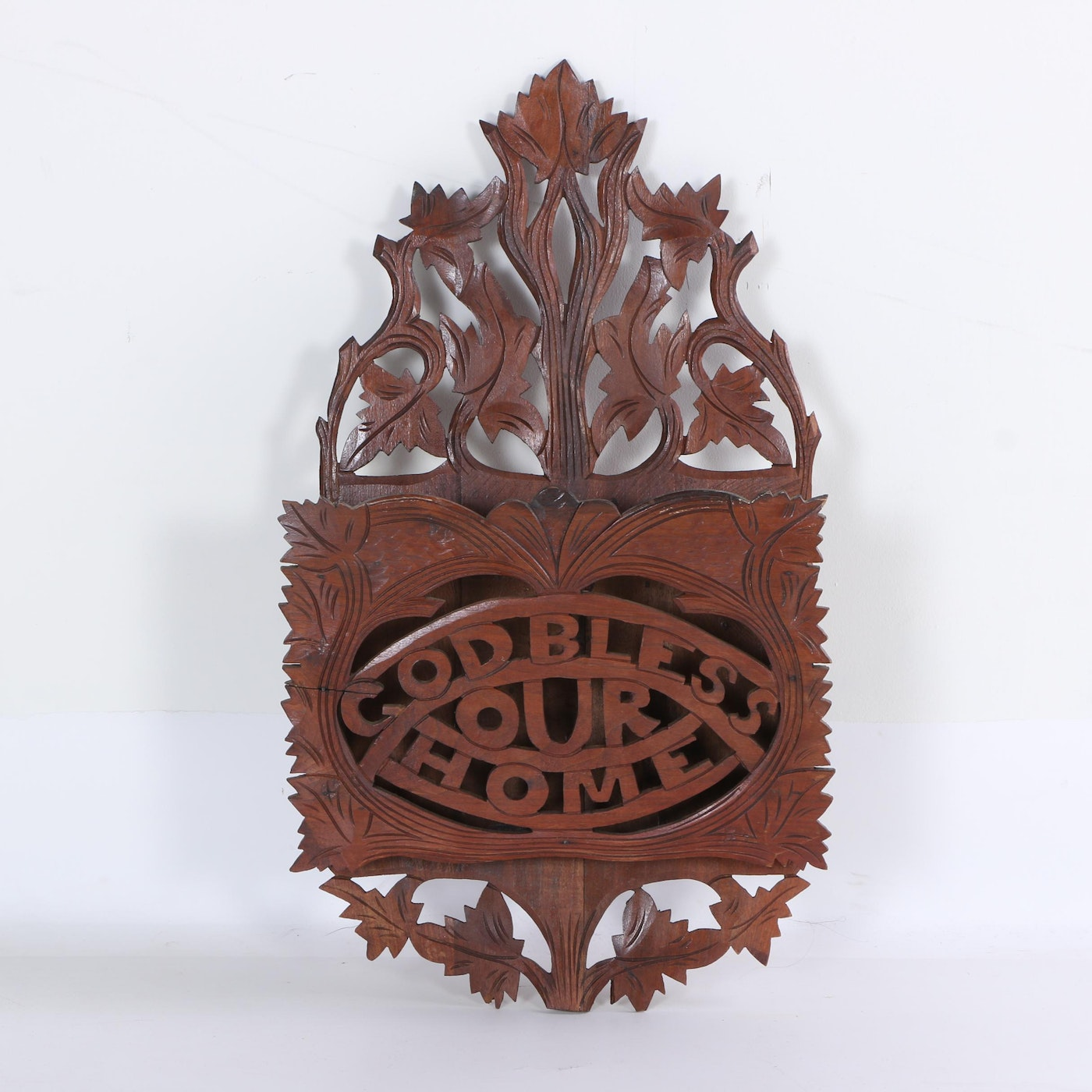 Victorian style carved wood wall magazine holder ebth