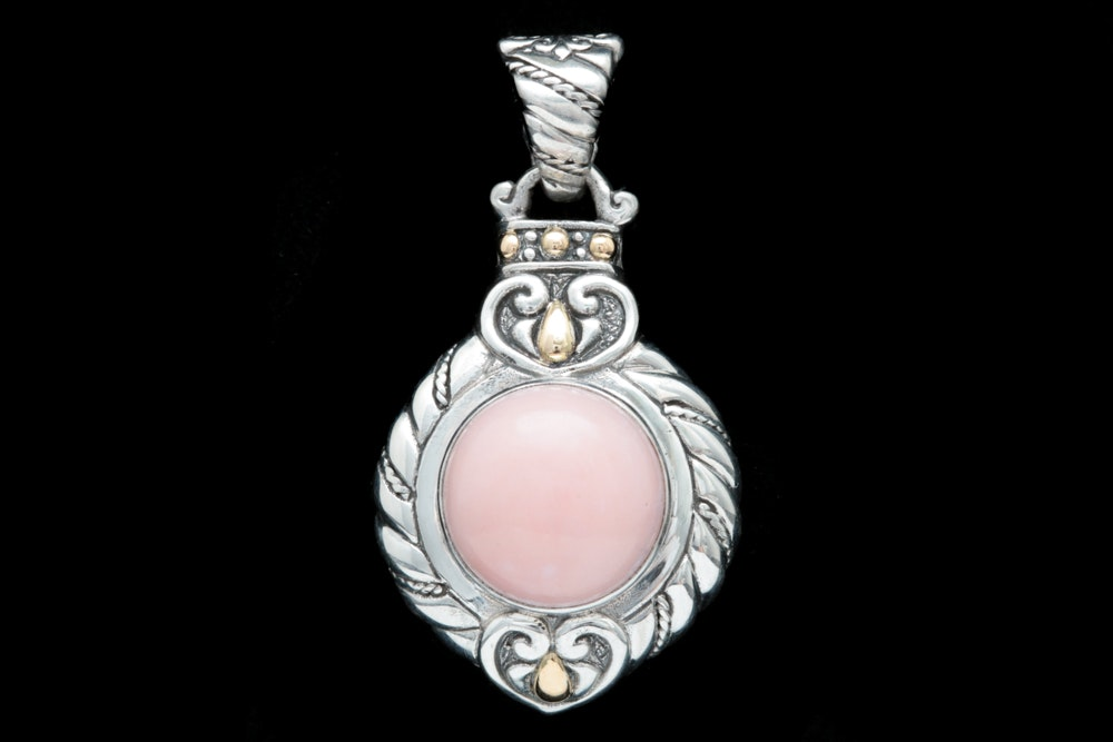 Sterling Silver, 18K Yellow Gold and Pink Opal Pendant