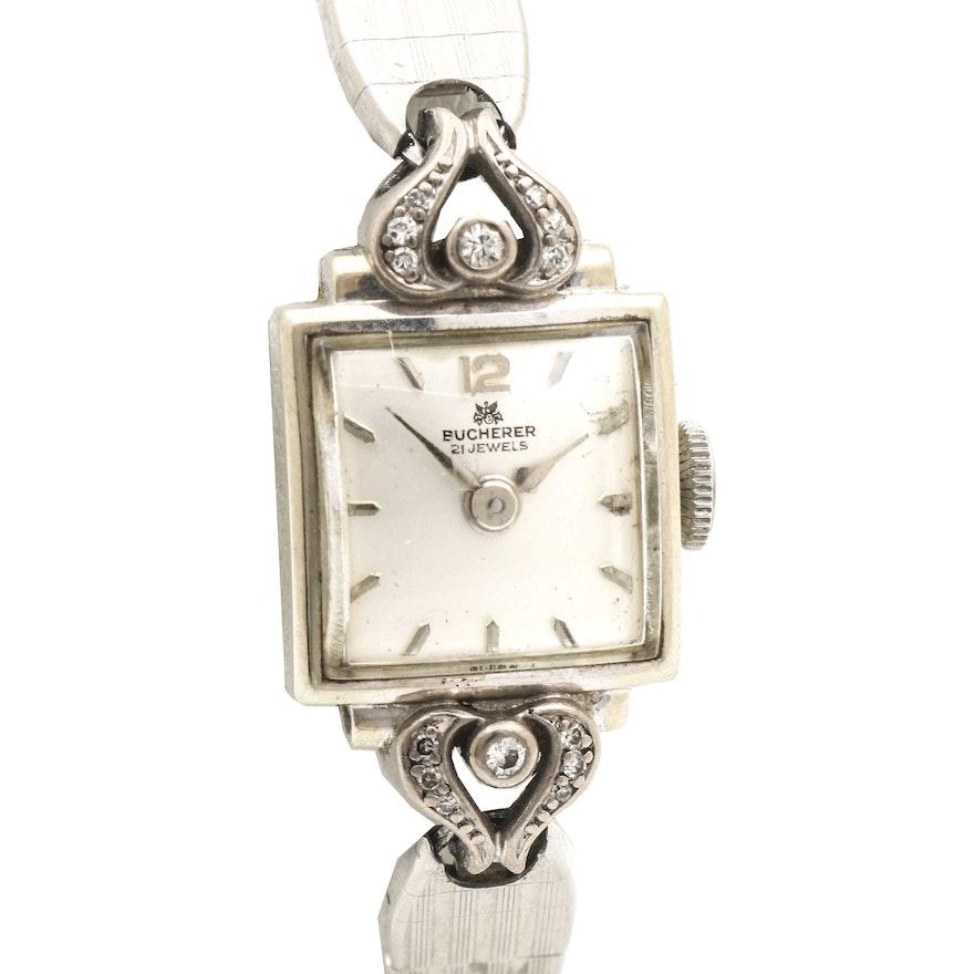 Bucherer Diamond and 18K White Gold Wristwatch
