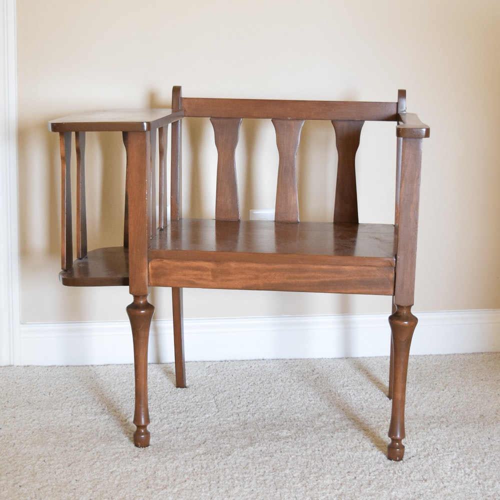 Vintage Walnut Finished Telephone Chair