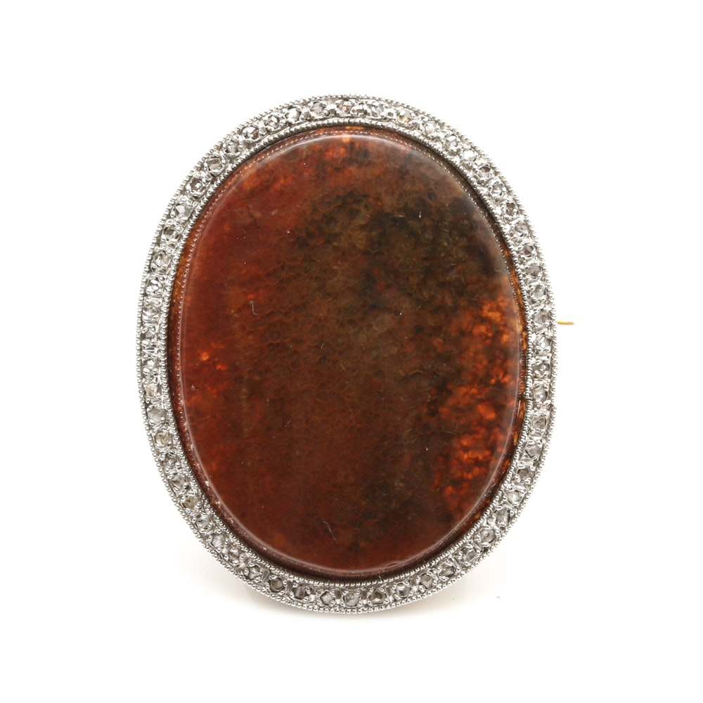 18K Yellow Gold and Platinum Moss Agate and Diamond Brooch
