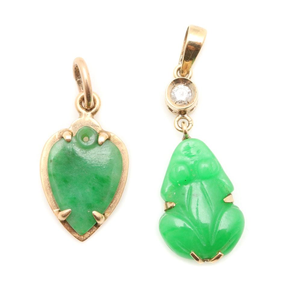 14K Yellow Gold Jadeite and Diamond Pendant Selection