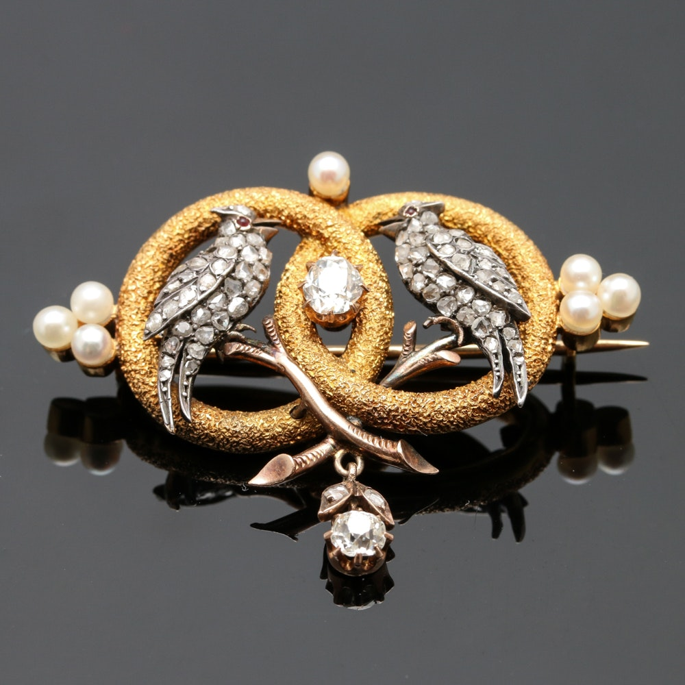 Victorian 14K and 18K Yellow Gold, Sterling, Diamond and Pearl Brooch
