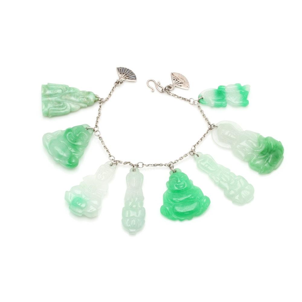 Sterling Silver Jadeite Buddhism Charm Bracelet