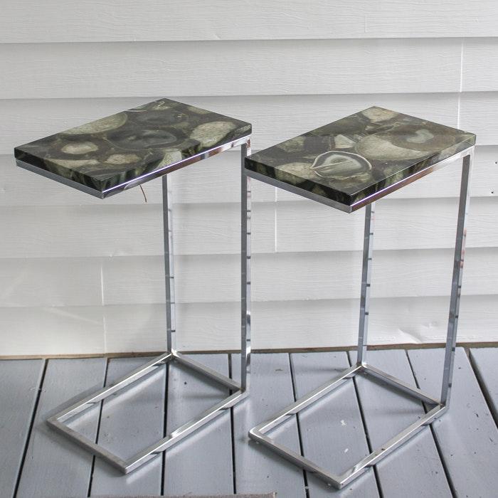 Agate Motif Top Metal Frame Side Tables
