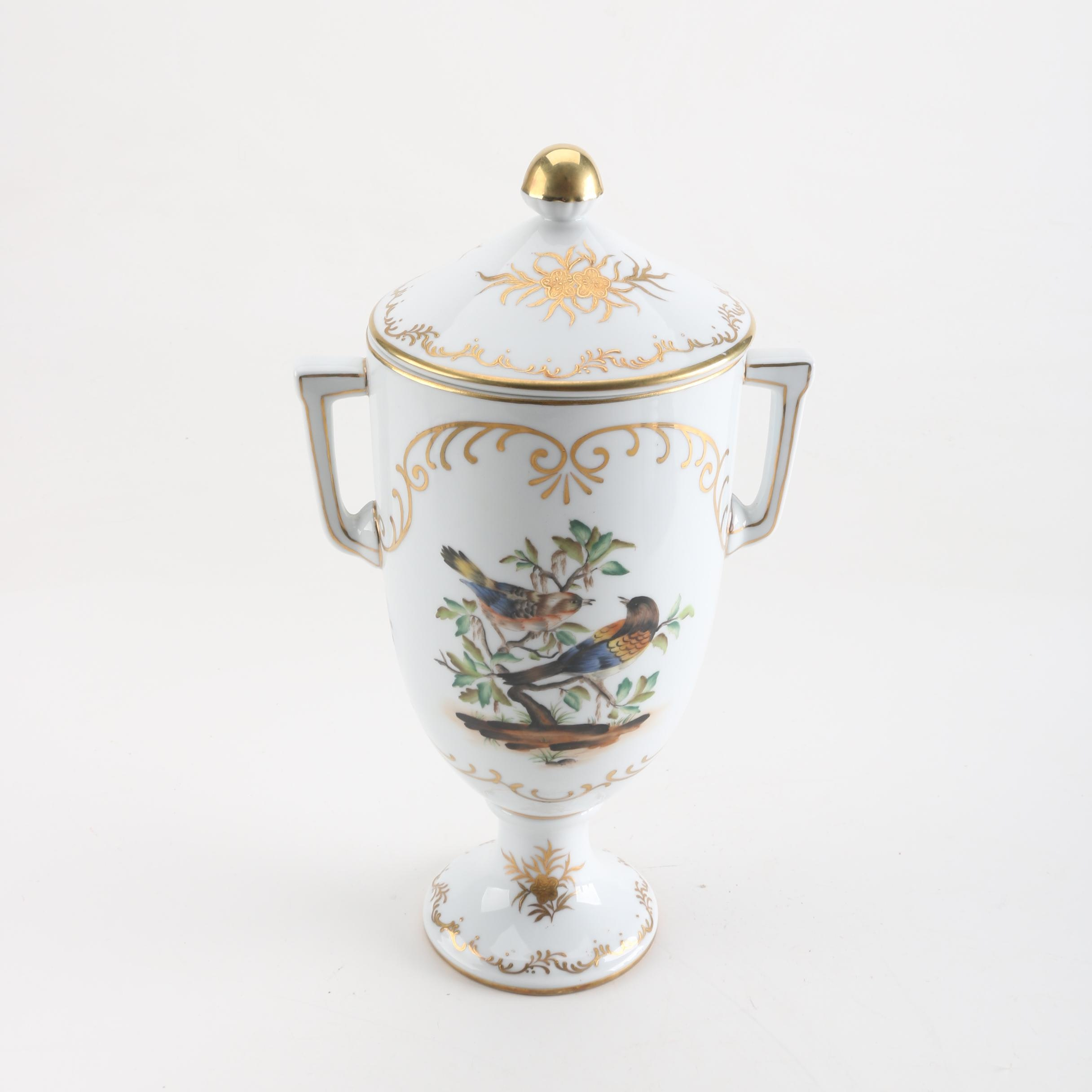 Antique Dresden Porcelain Lidded Urn