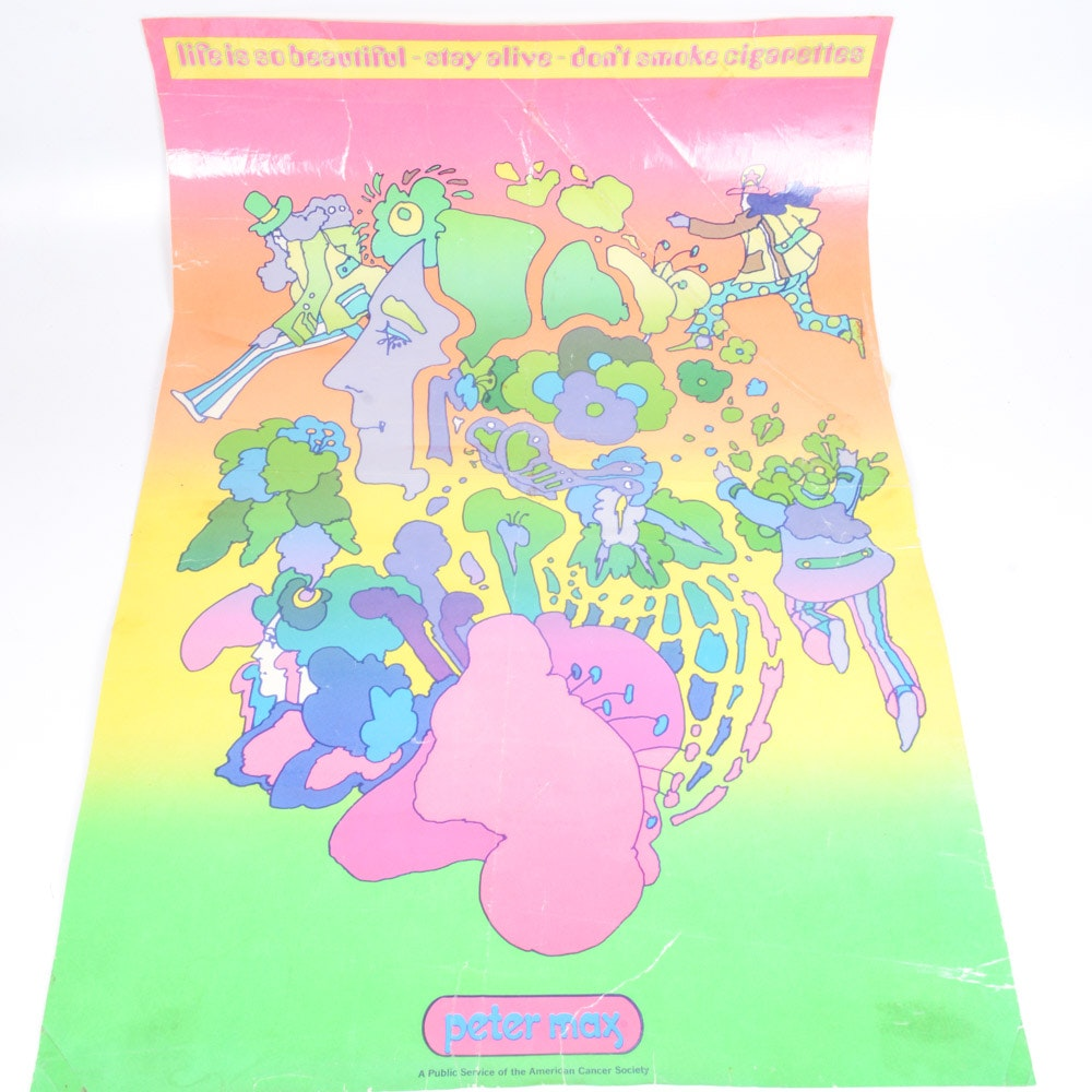 "Peter Max ""Don't Smoke"" Offset Lithograph Poster"