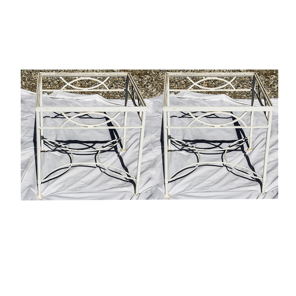 Pair of Wrought Iron Outdoor End Tables