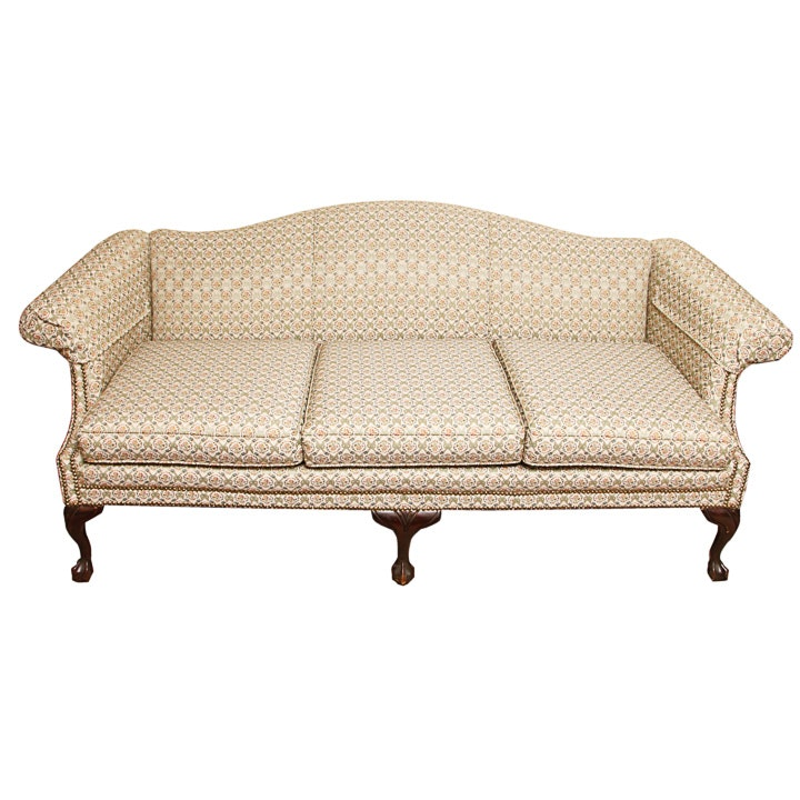 1940s Chippendale Style Camelback Sofa ...