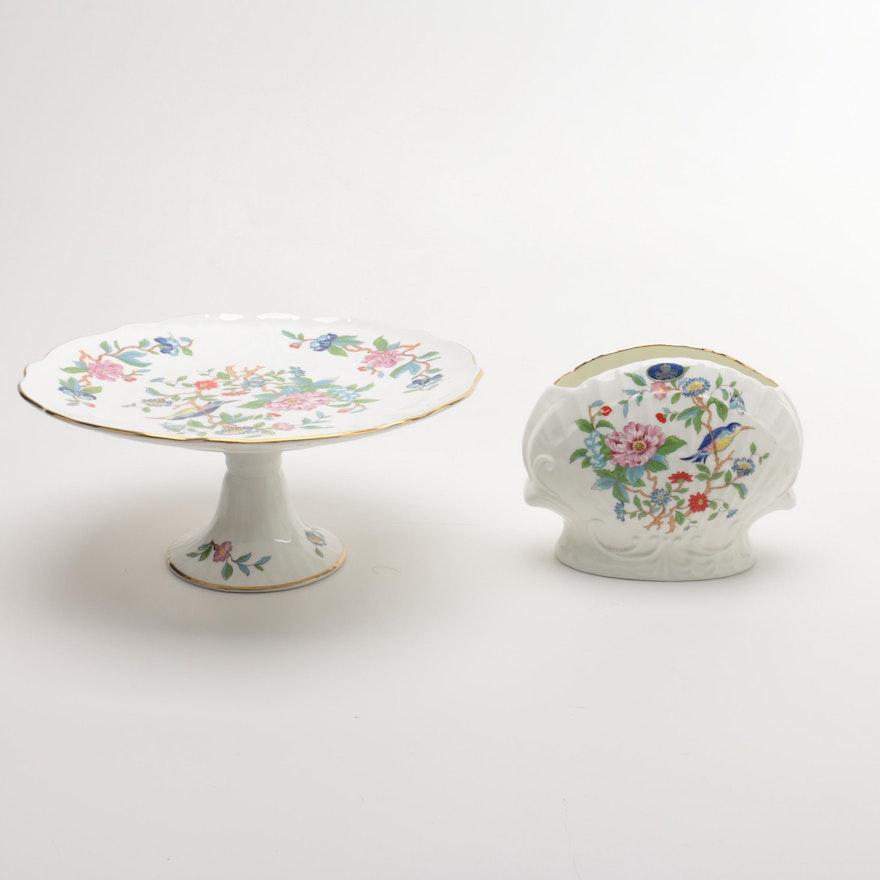 Aynsley Pembroke Bone China Cake Plate And Vase Ebth