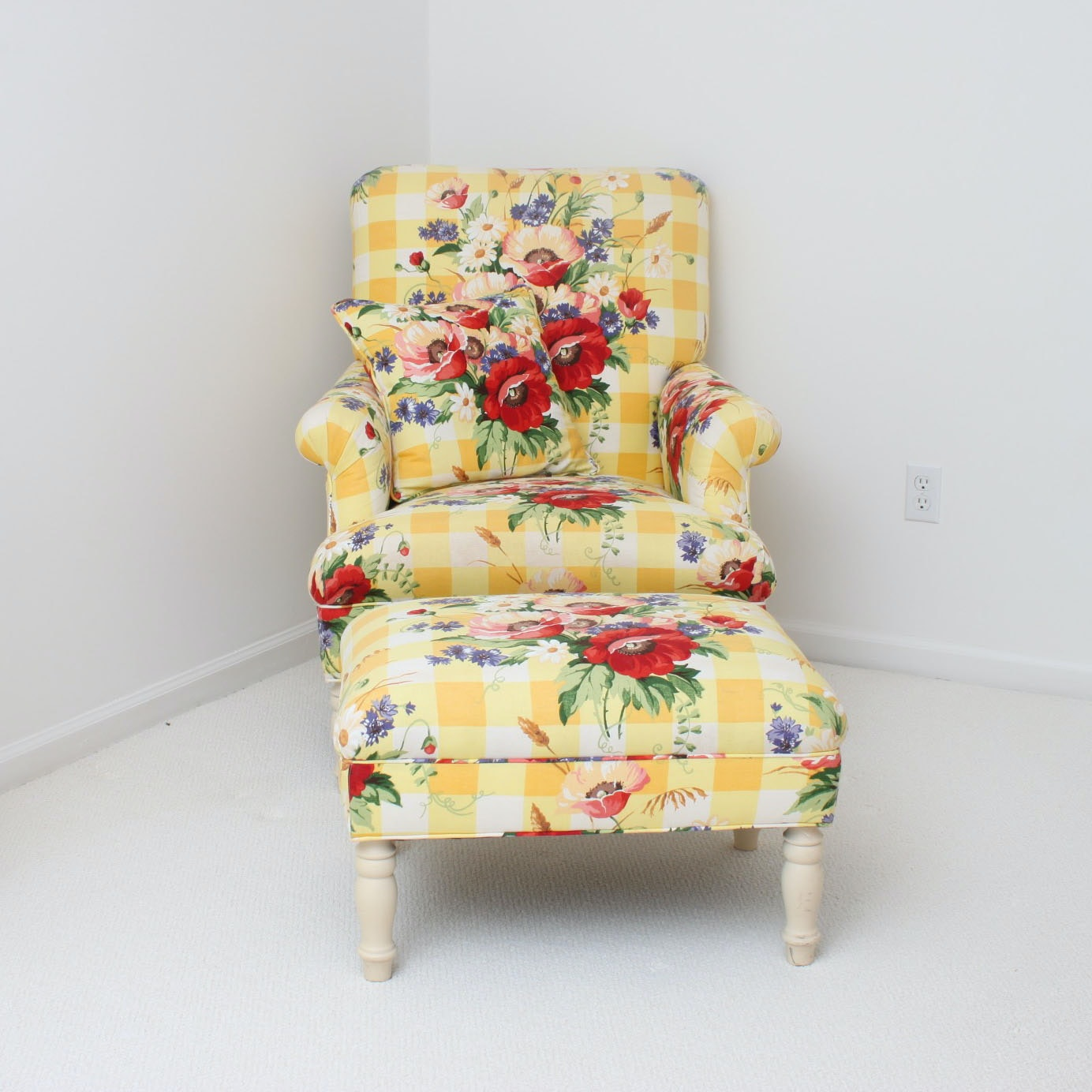 Floral Upholstered Lounge Chair with Ottoman by Pearson