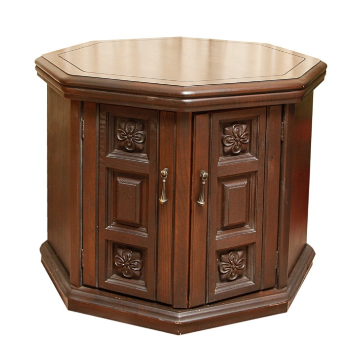 Mid-Century Octagonal Side Table Cabinet