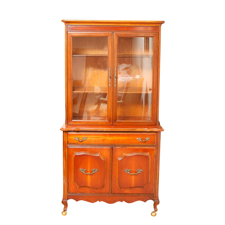 Mid-Century French Provincial Style Cherry China Cabinet