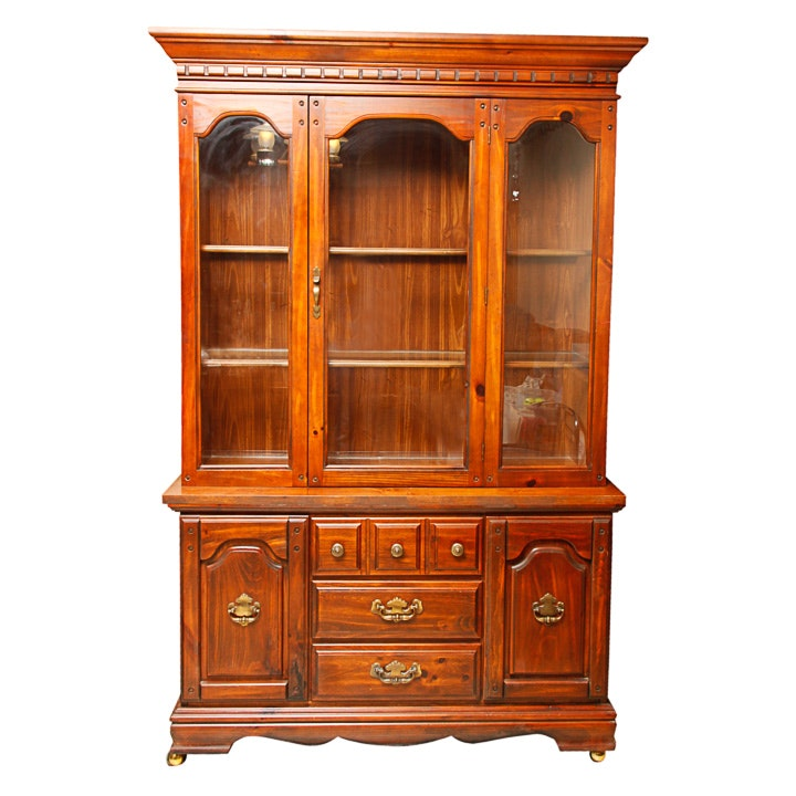 Mid-Century French Provincial Pine China Cabinet