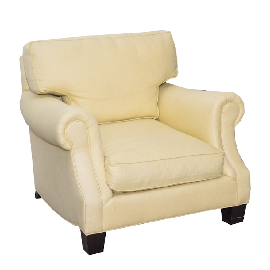 Pale Yellow Upholstered Armchair By Crate Barrel
