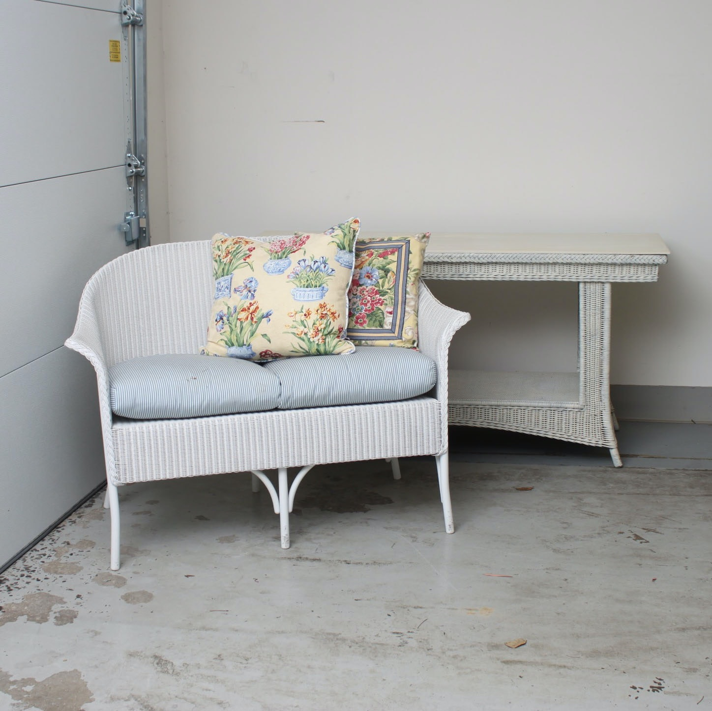 Wicker Bench and Console Table
