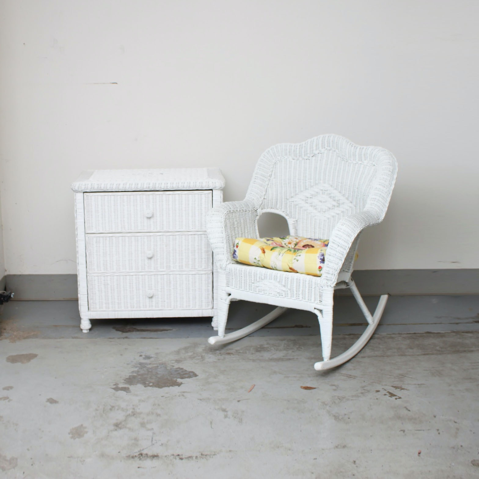 White Wicker Rocking Chair and Chest of Drawers