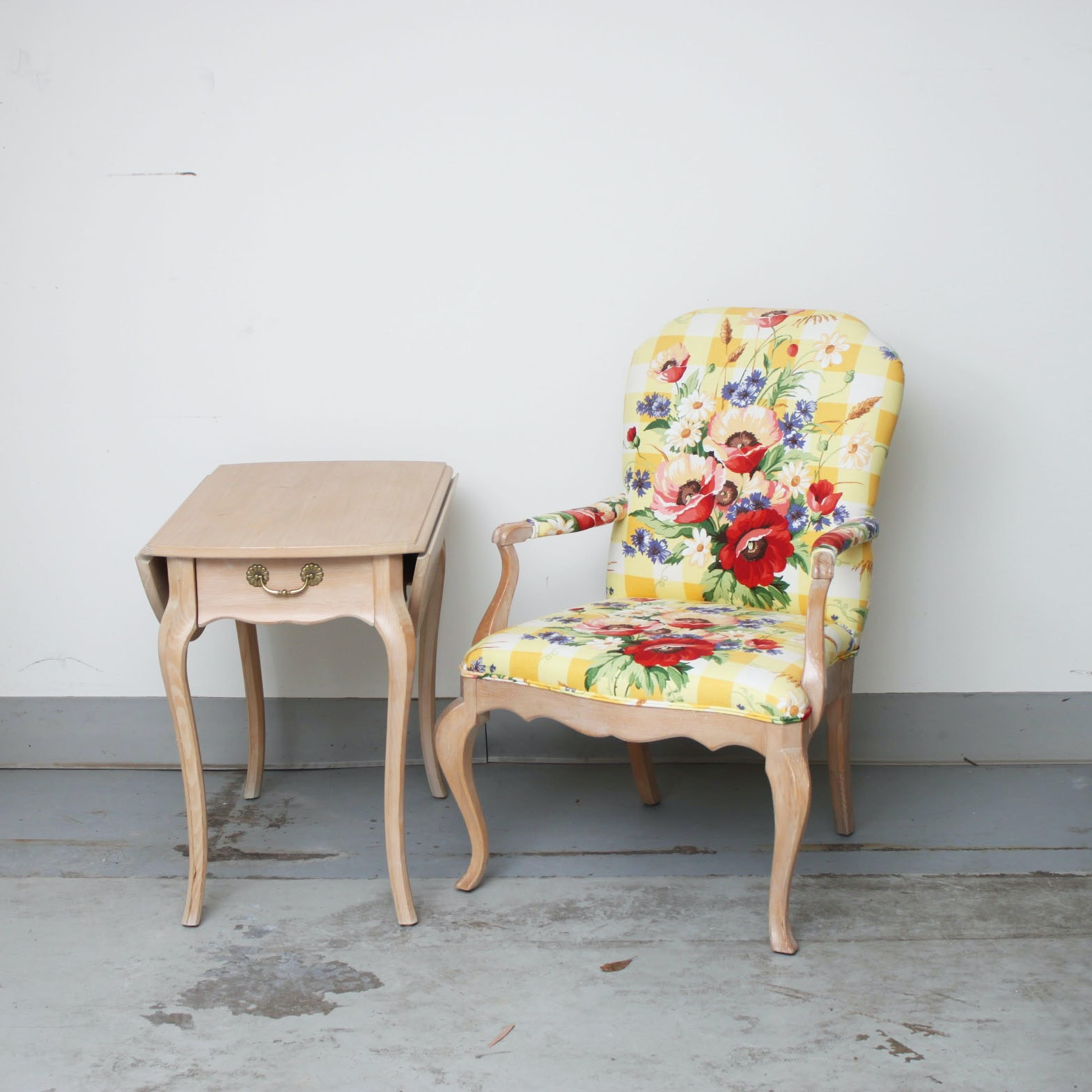 Hammary Side Table and Floral Armchair