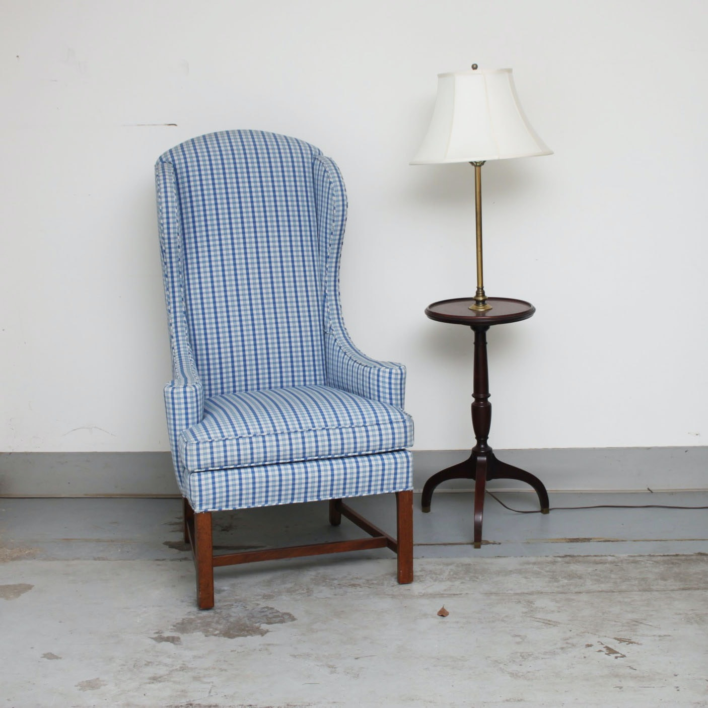 Wingback Chair and Tray Table Floor Lamp