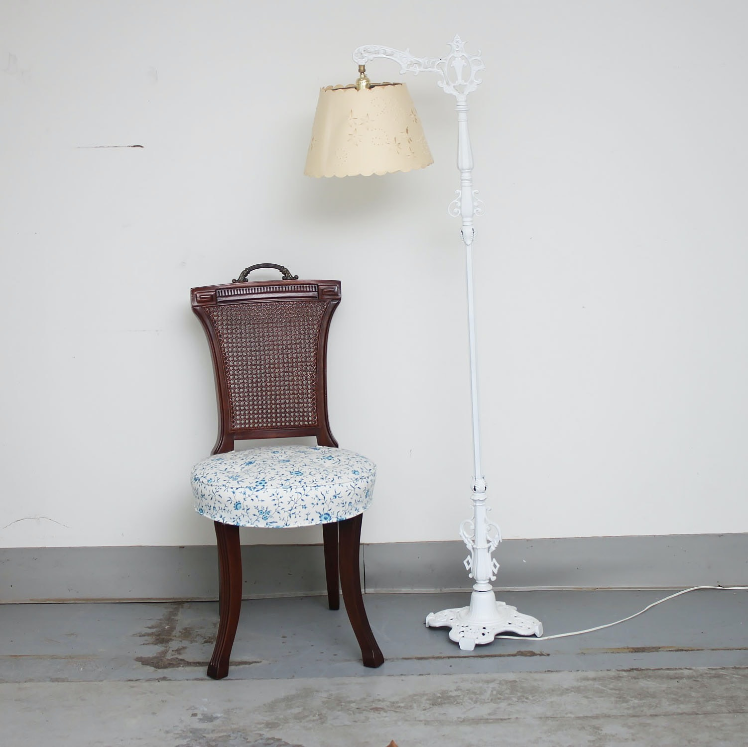 Victorian Style Chair and Bridge Arm Style Floor Lamp
