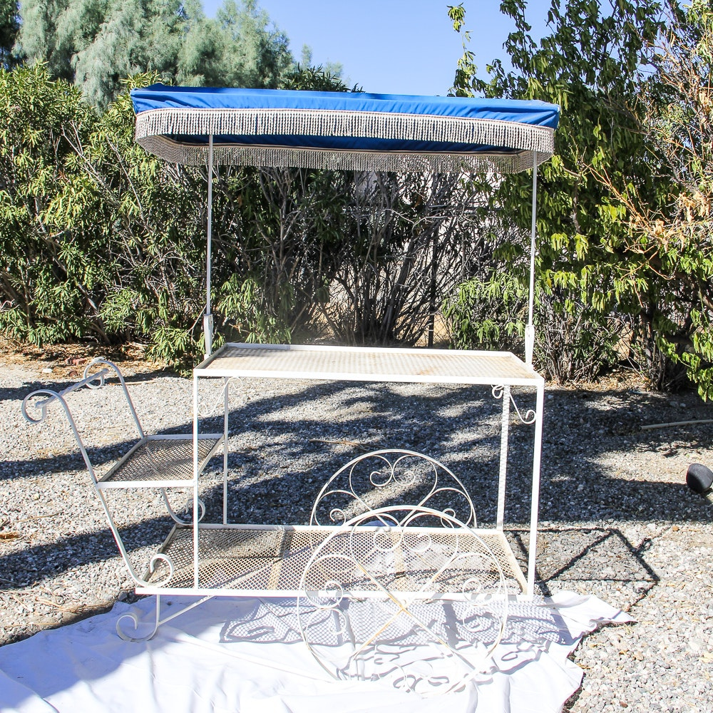 Outdoor Wrought Iron Bar Cart with Shade