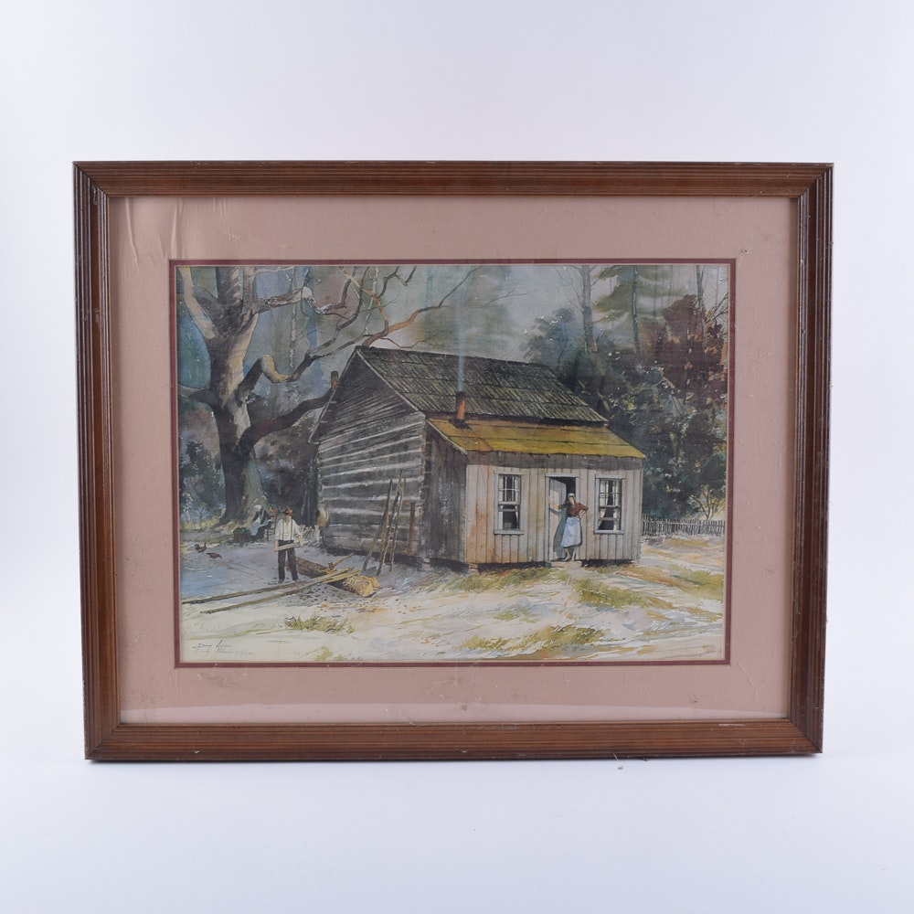 Doug Adams Limited Edition Offset Lithograph on Paper of a Log Cabin