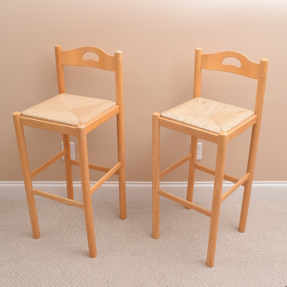 Pair of Barstools with Rush Seats