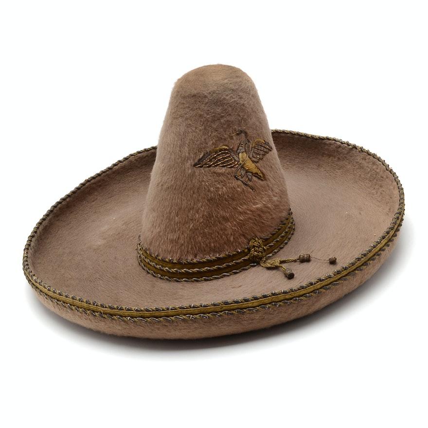 Vintage Mexican Felt Sombrero Hat   EBTH 30721de9798