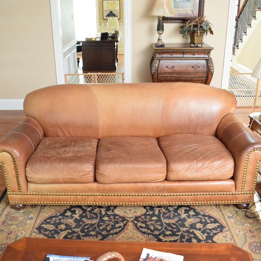 Tan Leather Sofa with Nailhead Trim