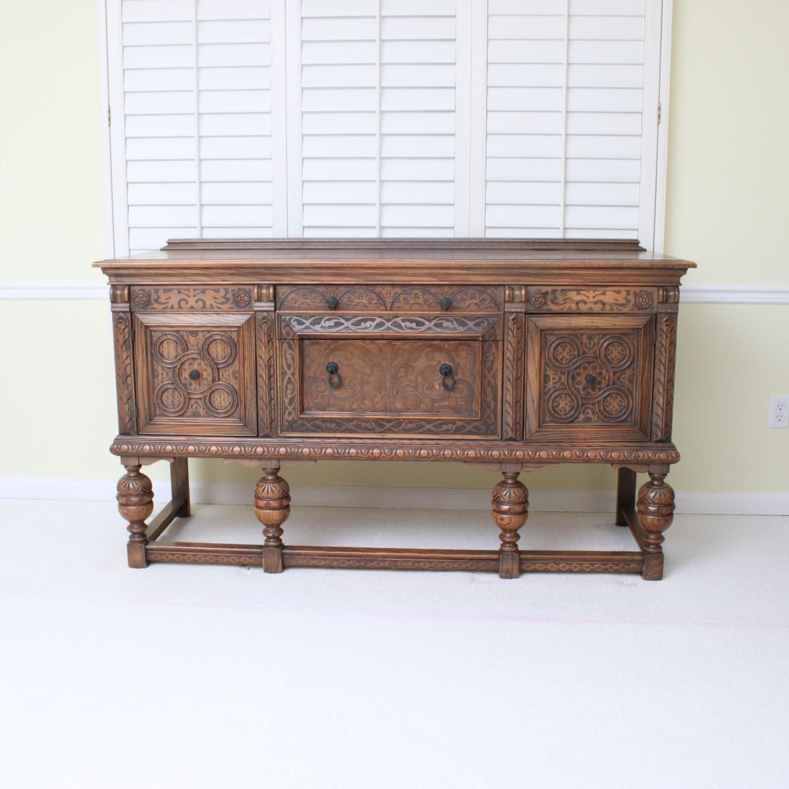 Vintage Tudor Revival Oak Sideboard