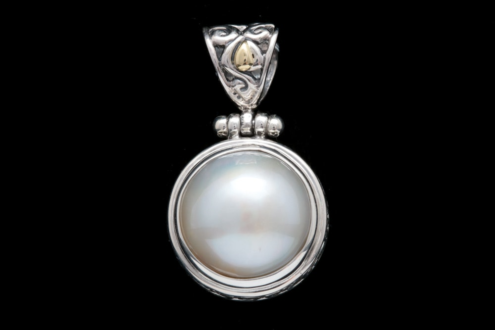 Sterling Silver, 18K Yellow Gold and Mabé Pearl Pendant