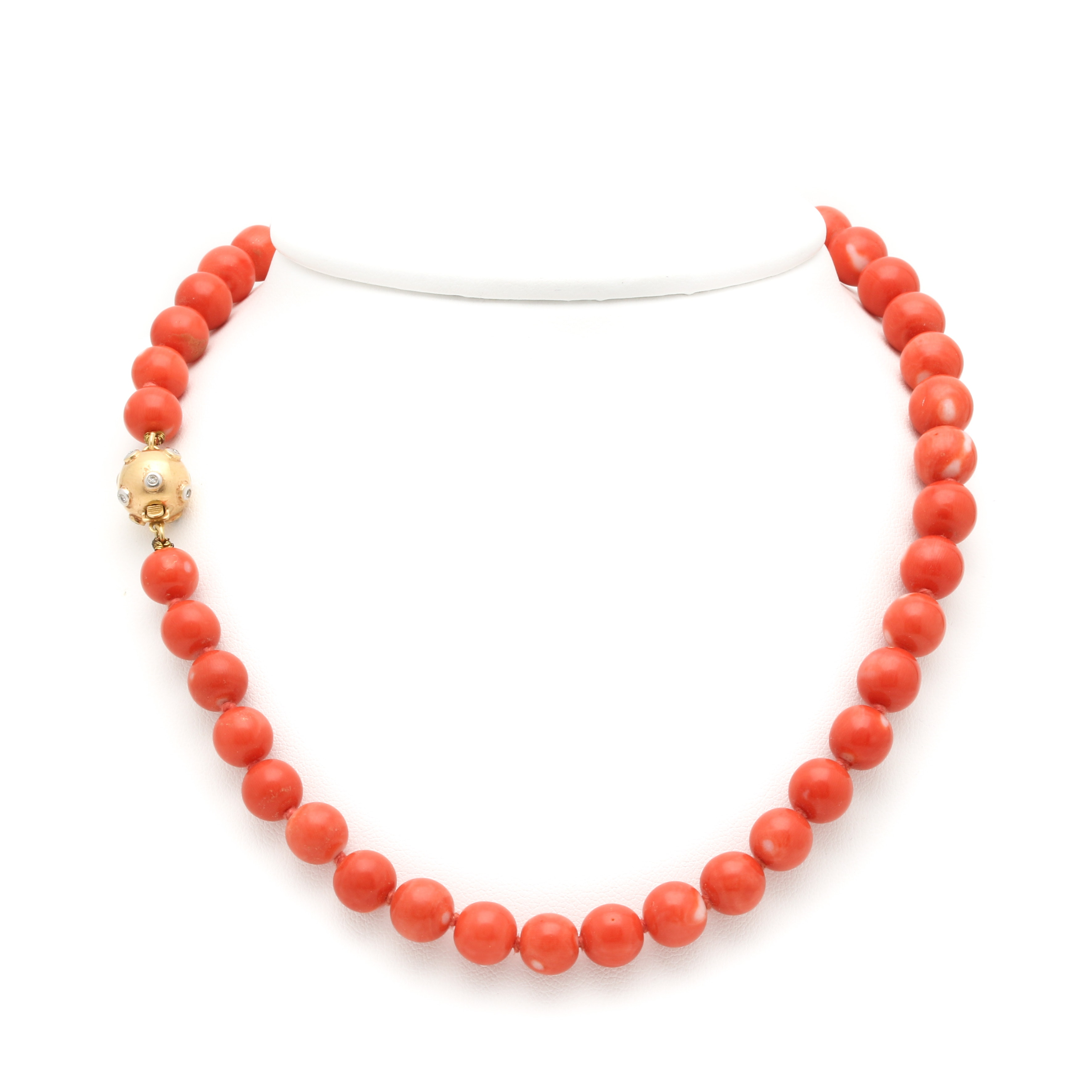 14K Yellow Gold Coral and Diamond Necklace